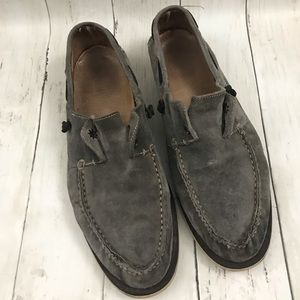John Varvatos gray suede slip on loafers Sz 9.5